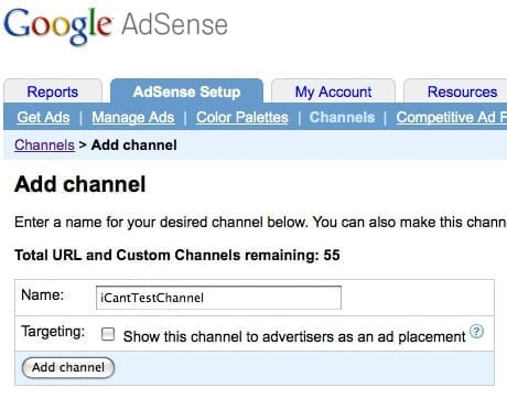 Using channels in Adsense