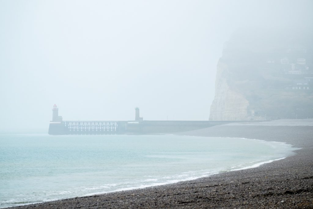 Lighthouses of Fecamp, Normandy, on a grey misty day. Shot on Fujifilm X-E1.